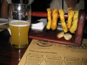 Pints and onion rings image